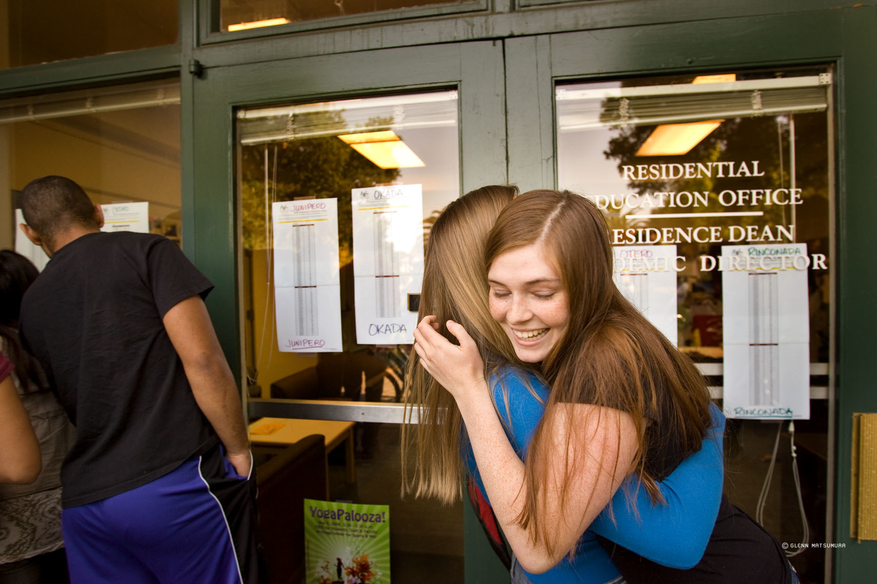Students celebrating as the housing draw results are posted