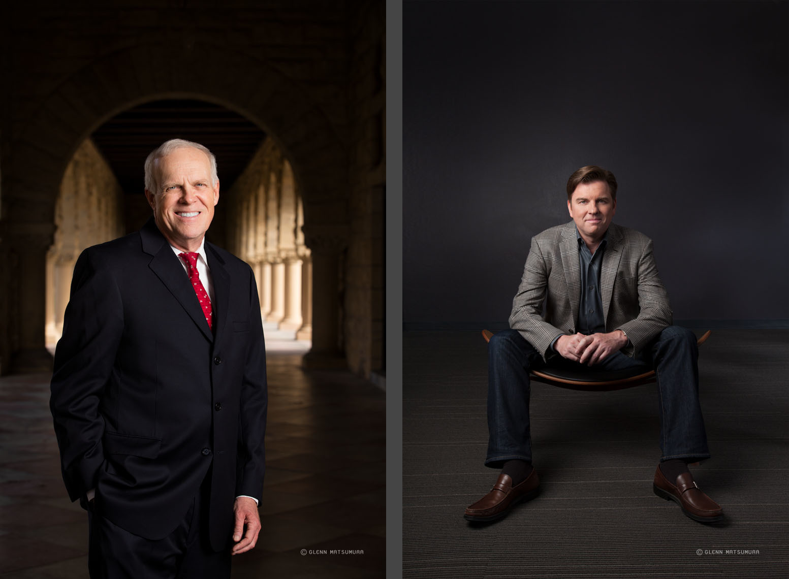 (L) Stanford President John L. Hennessy photographed near the co