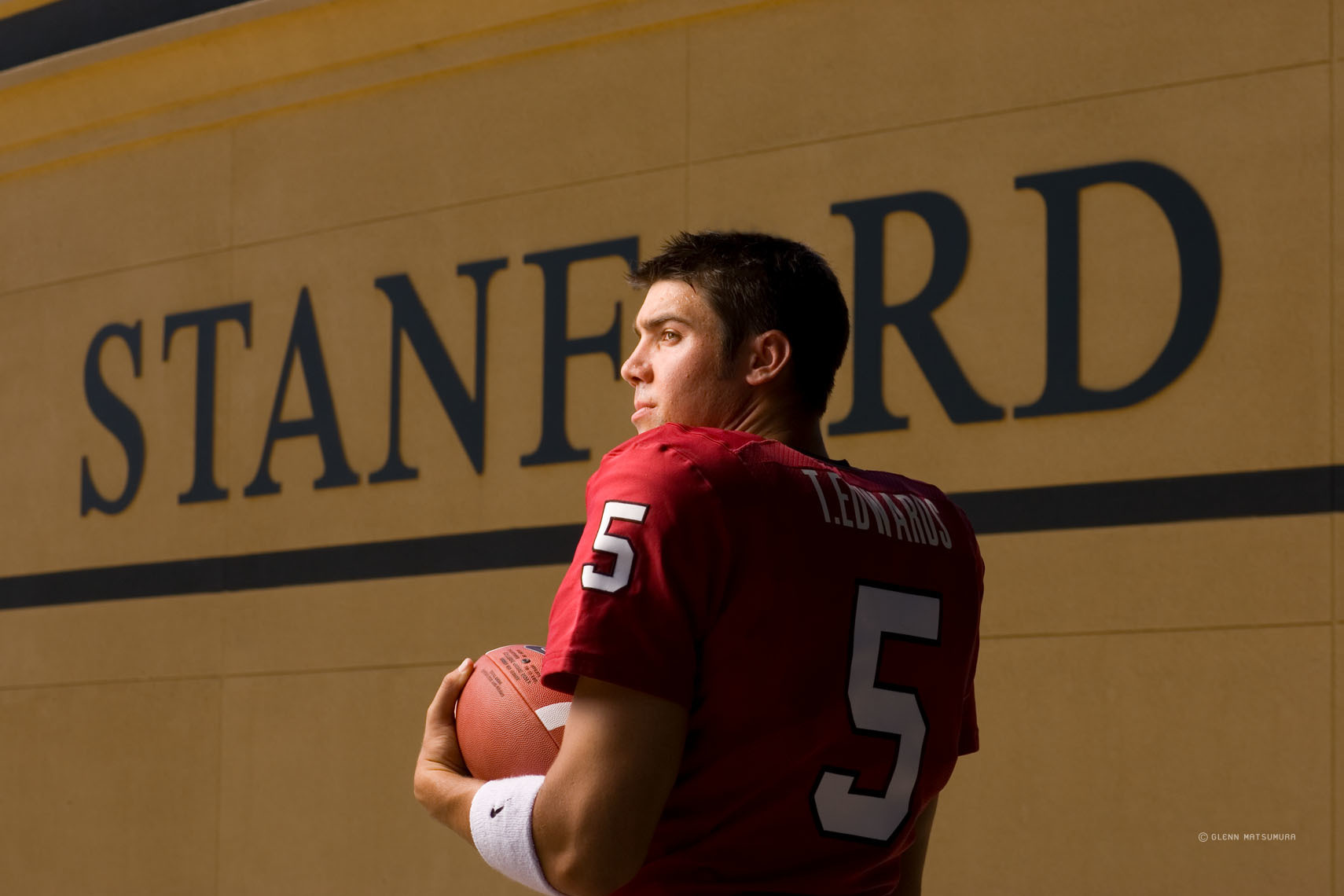 Trent Edwards, Stanford quarterback in front of Stanford Stadium